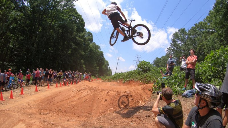 Kyle Tynan sending to the moon in the finals of the Whip-Off contest at the opening day celebration of Cedar Valley Bike Park in Davidson, NC.