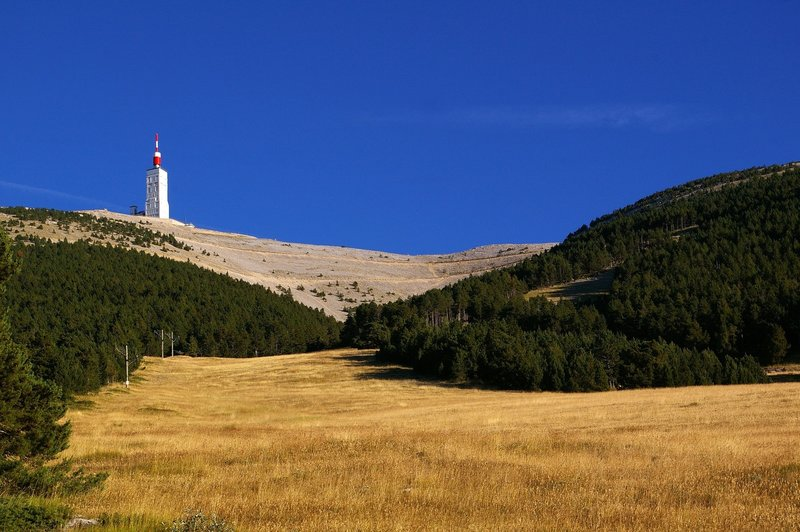 The weather tower on the summit of Mont Ventoux.