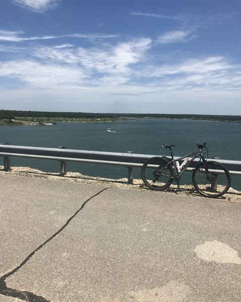 Riding across the dam was pretty cool -- especially nice to take a short break from the rocks!