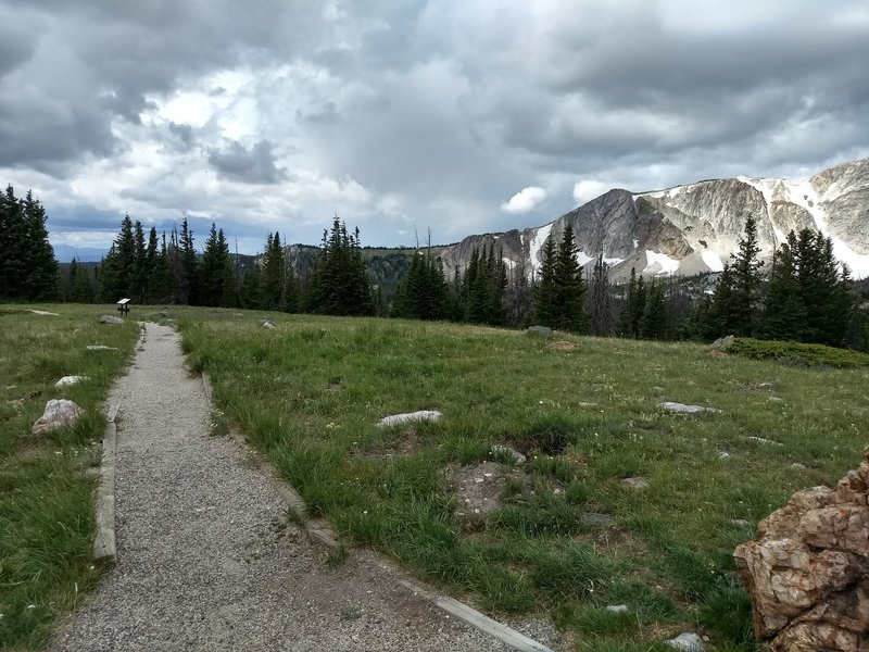 Top of the trail right off the trailhead. Great views of Medicine Bow Peak
