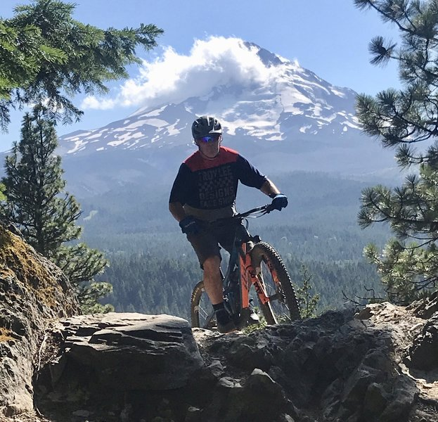 Descending the Dog River Trail with Mt Hood in the background...
