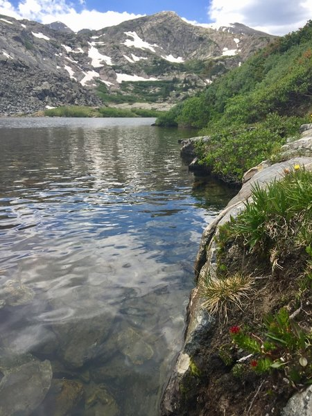 A view of Atlantic Peak from the first lake you encounter on McCullough Gulch Trail