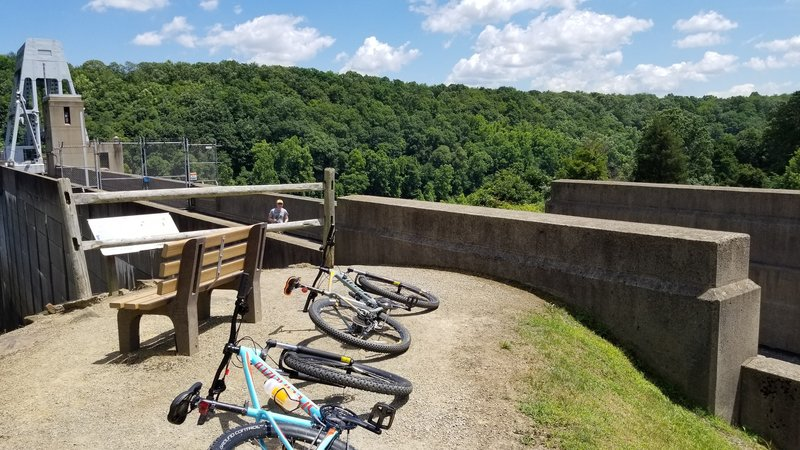 Looking out from the top of the Conemaugh River dam.