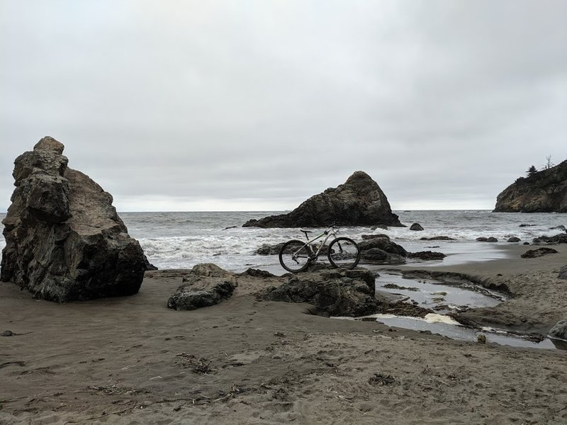 Muir Beach at the outlet of Redwood Creek on a summer day; nice mid-ride rest point.
