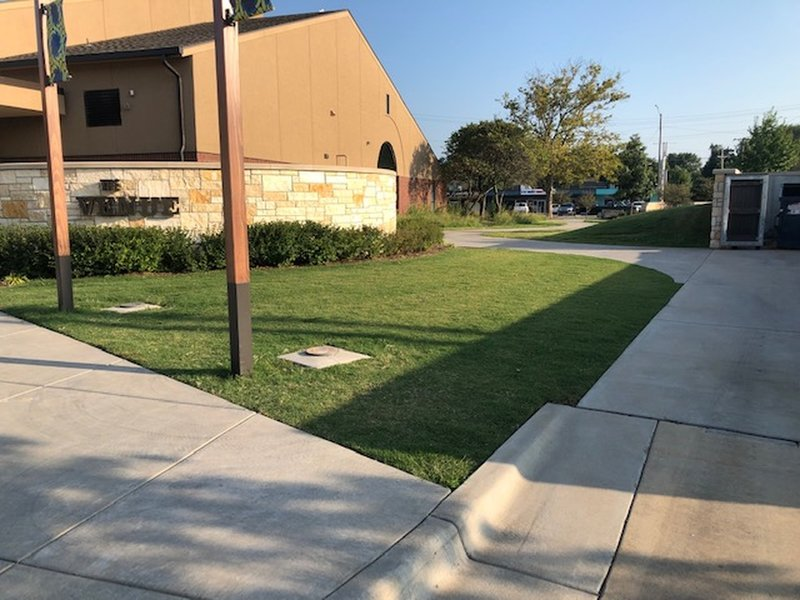 """Path begins by the """"Venue"""" building on West side of Park"""