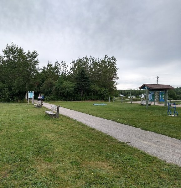 Benches, kiosks, bike racks at many points along the trail.