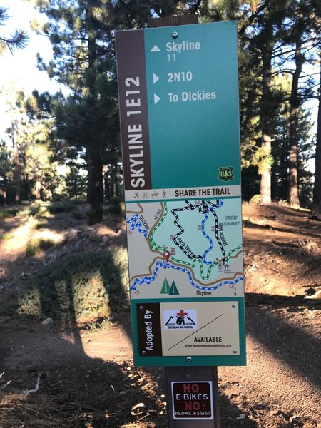 Trail marker/map at the junction of Skyline Road (2N10) and Skyline Trail - showing direction to Dickies (down Coyote).