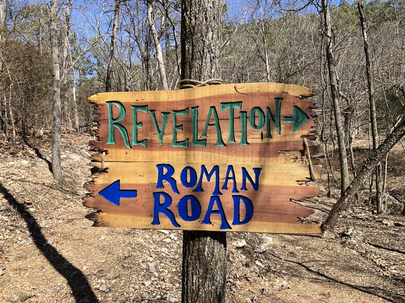 Creative signs on the Passion Play trails.