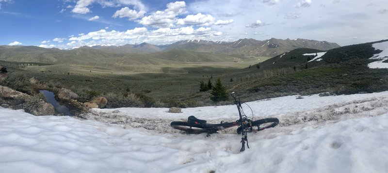 """Hidden Valley ascent to the flow trail (5/3/2019). snow was still about 12"""" deep on the track, in this section - way deeper above that"""