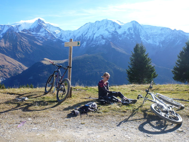 Trail junction at the chalet of Porcherey, with Mt Blanc in the background.