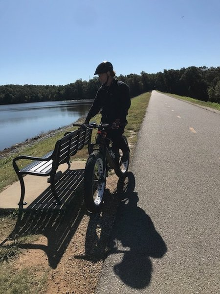 Riding over the dam.