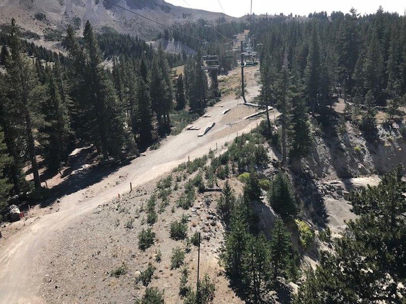 Skills Park arial view from the ski lift near Beach Cruiser Trail.