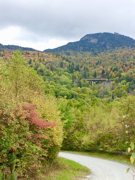 From Edgemont Rd: Grandfather Mountain and some famous curved Bridge.