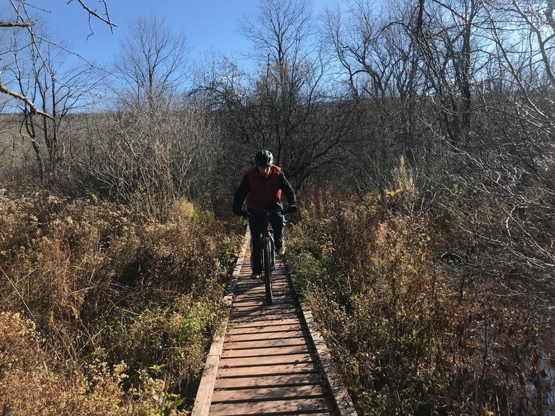Rolling on one of the many bridges in the elm ridge loop