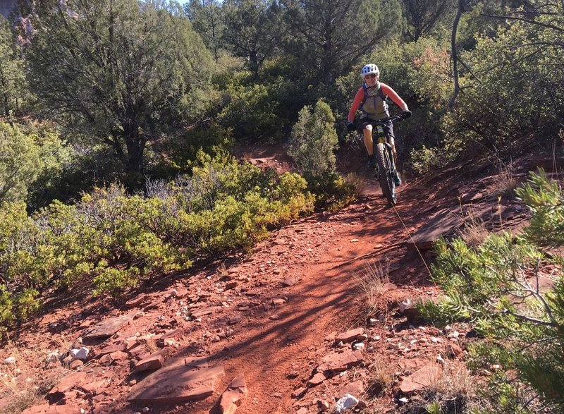 Cruising a mellow section of trail