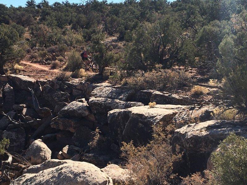 Skirting a small canyon