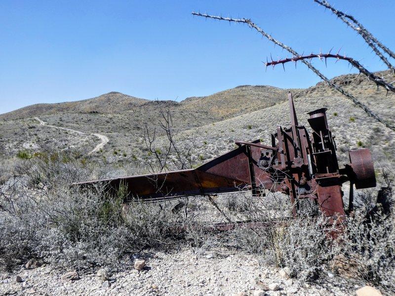 Old mining equipment along Guale Mesa Road