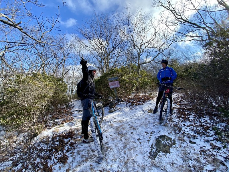 Snow covered Little Bald Knob before dropping into Chestnut Trail