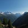 view from Emosson towards the Mt Blanc massif
