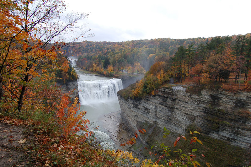 Letchworth State Park-Middle Falls with Upper Falls in background