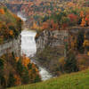 Letchworth State Park - From Inspiration Point with Middle Falls,  Upper Falls, and the old Railroad Bridge