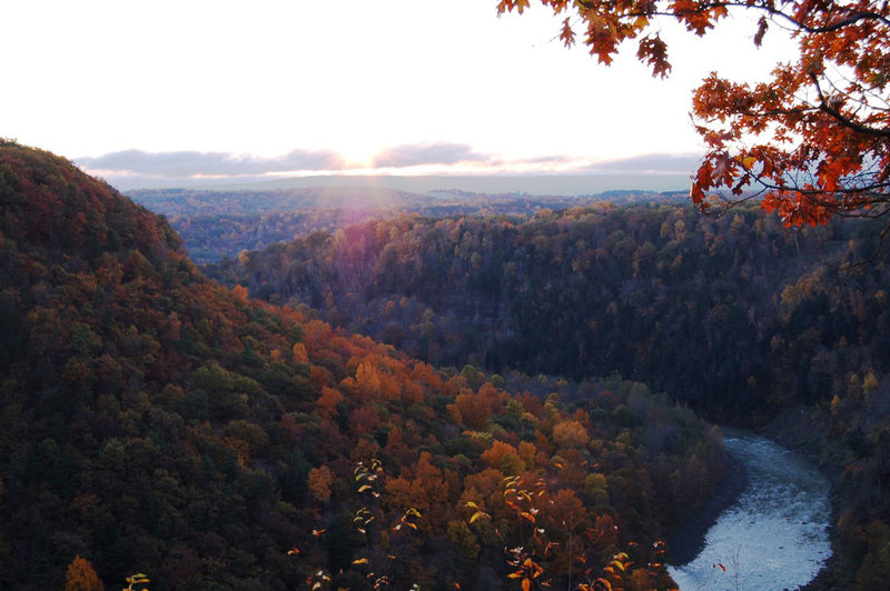 Letchworth State Park- Autumn Color at Big Bend looking upstream with Genesee River