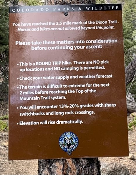 turnaround point at top of dixon trail (for bikes at least)
