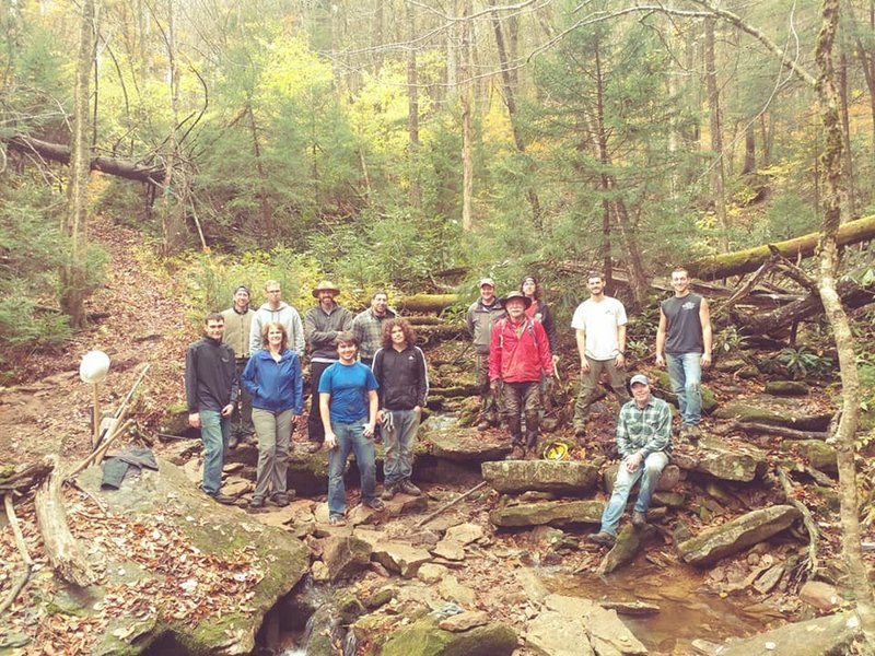 Monongahela Outdoor Volunteers and WVU students on a good trail day.