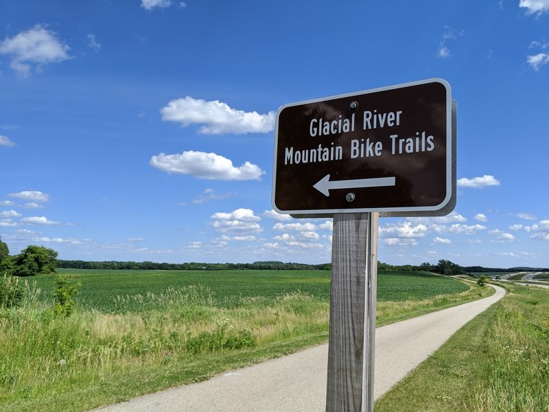 Turn off from the main paved Glacial River Trail to the mountain bike trails.