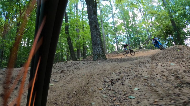 Sending it on one of the bigger berms on Evergreen at Ride Kanuga Bike Park on opening day.