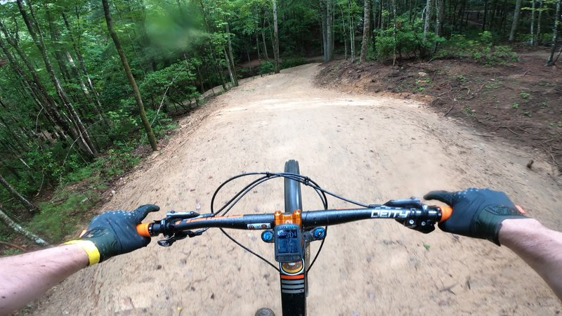 Hitting 30 mph over the 25 foot tabletop on Tortuga at Ride Kanuga Bike Park