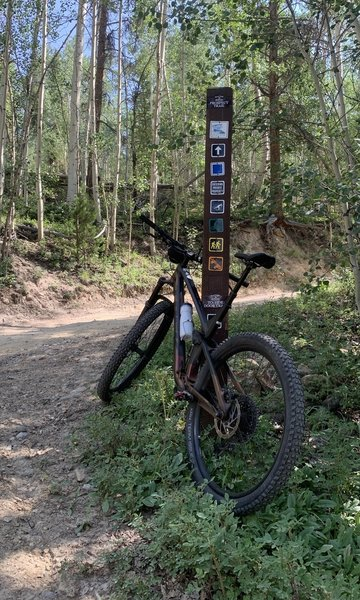 Trailhead post intersection sign