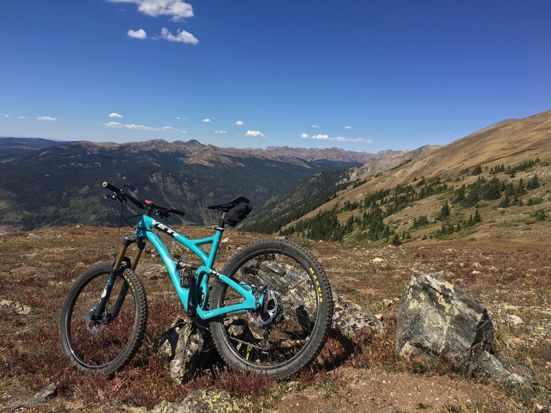 For the record, my bike needed a rest, I was still good to go. Approaching summit on Miner's Creek Trail.