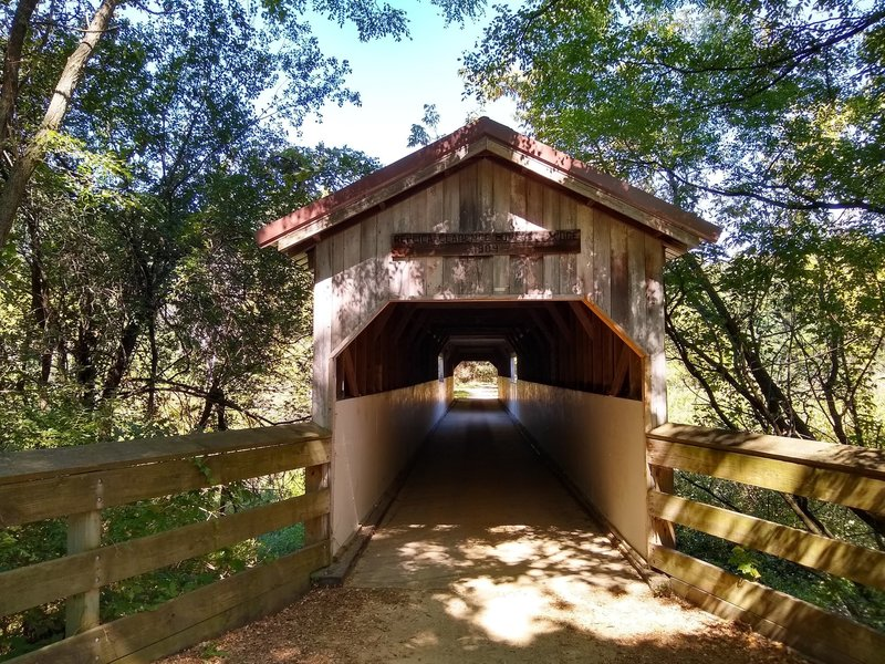 The Clarence Covered Bridge Replica on the Sugar River State Trail.