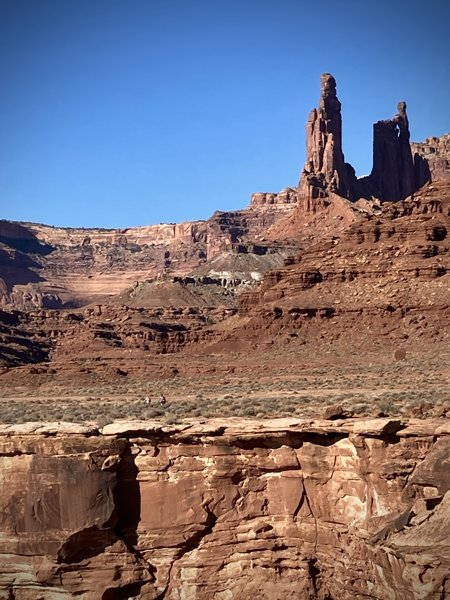 Ridng past Monster Tower and Washerwoman Arch