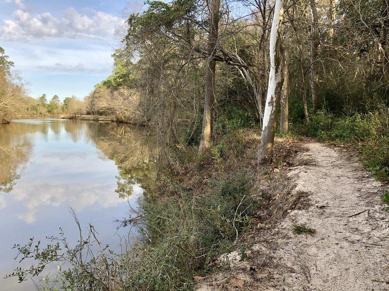 The trail runs along Caney Creek.