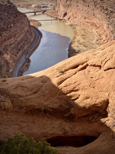Updraft Arch and the Moab highway and pedestrian bridges