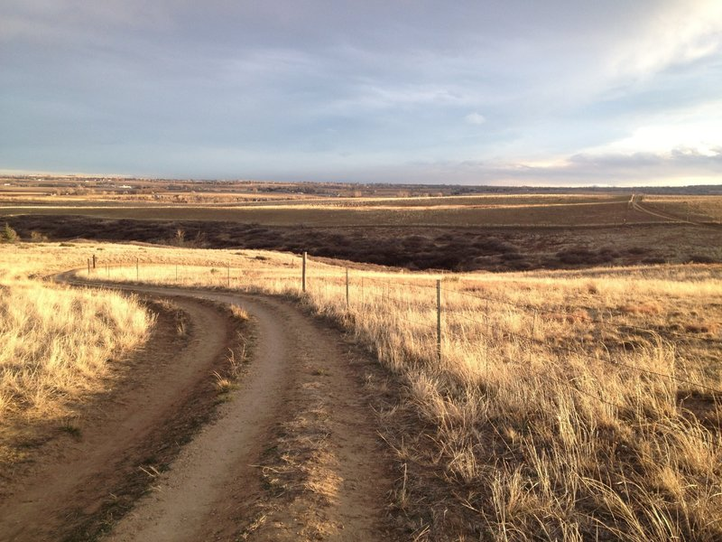 Looking down part of the White Rocks section of the East Boulder Trail.  Easy riding in the hilly plains east of town.