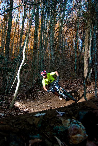 Moto Mike bringing it home on Rocky Branch. Photo by Kristian Jackson