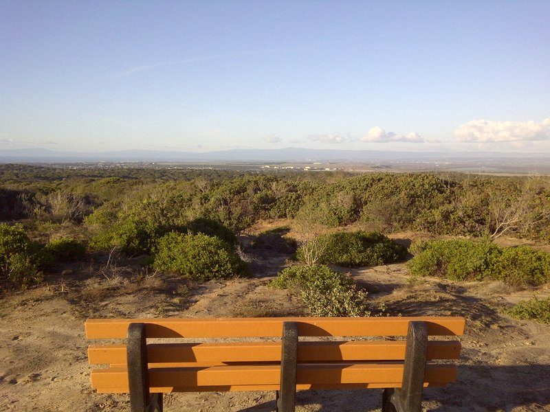 A view from the top of trail 68 toward Moss Landing and Monterey Bay.
