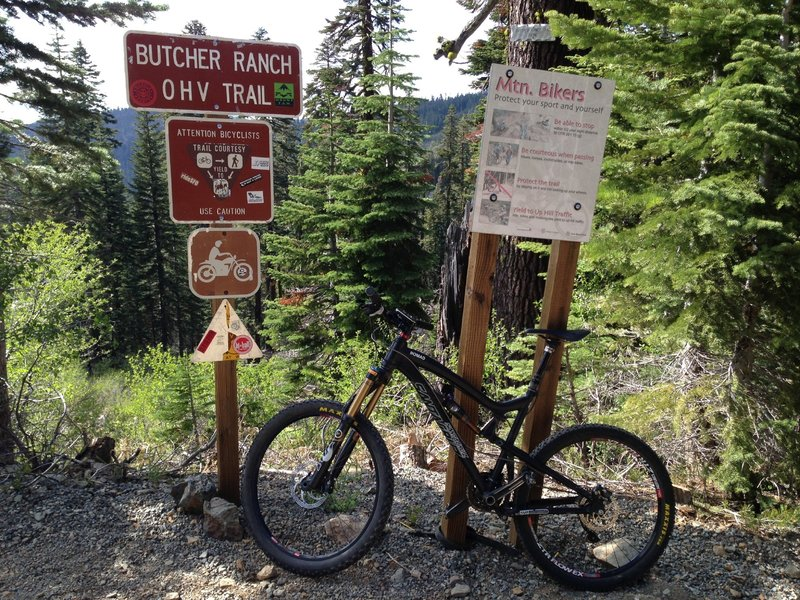 Butcher Ranch trailhead sign.