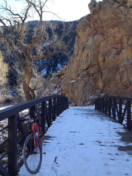 Winter along the Boulder Creek Path!  The trail is often snow-covered but rideable with regular MTB tires.
