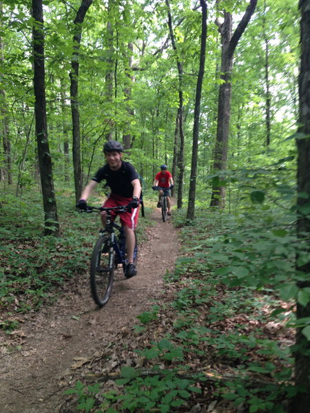 Family bike ride on the Family Bike Trail at Monte Sano State Park.