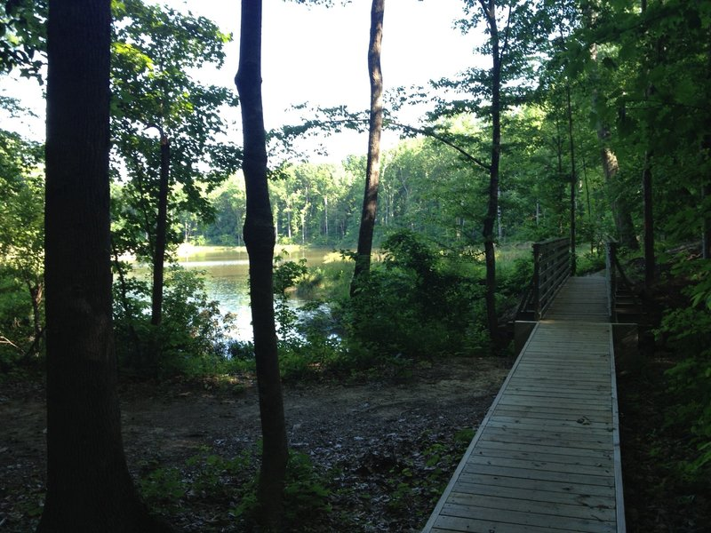 The view of the lake from the first bridge.