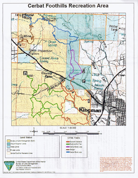 This a map of the Cerbat Foothills Recreational area.