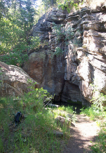 Little Elden Spring and a cool rock grotto. Watch for mountain lions.