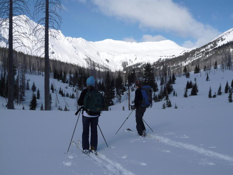 Scoping out ski lines upon entering Sheep Basin.  The low-angle/high avalanche danger day terrain is out of view to the left.