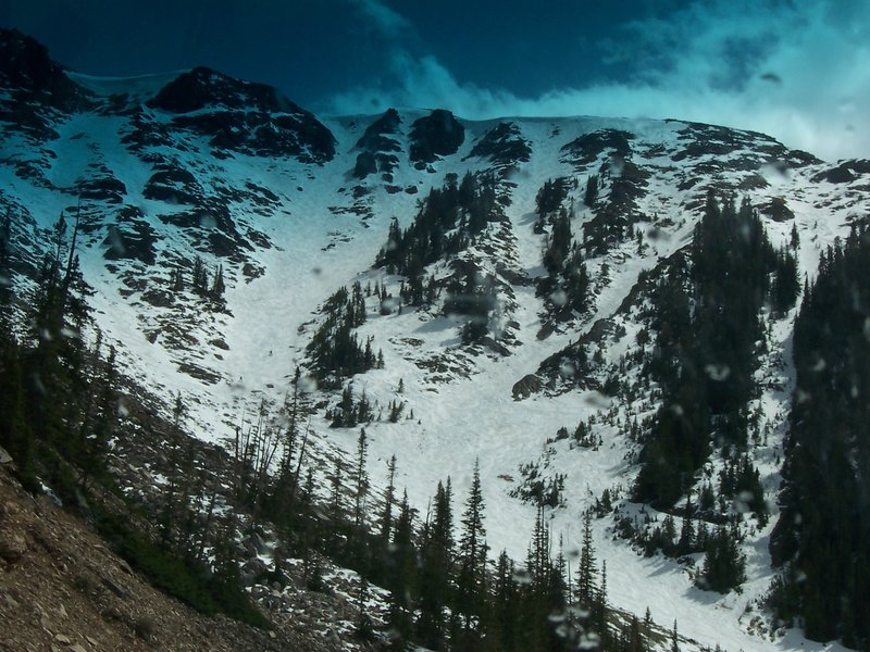Rock Creek headwall as seen from the Beartooth Highway in May