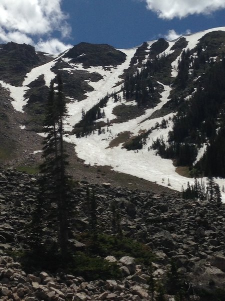 Rock Creek headwall as seen from below in late June 2014