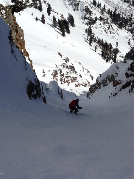 Josh finds sheltered, soft snow in Suicide Chute. This was late January during a warm dry spell.